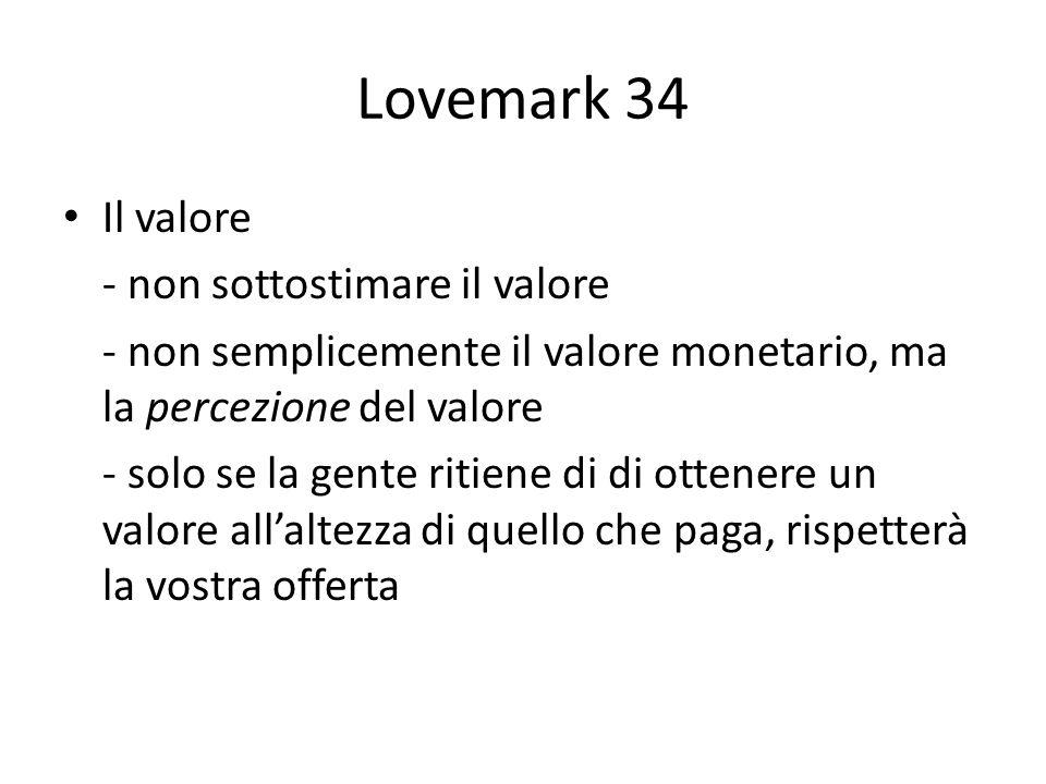 Lovemark 34 Il valore - non sottostimare il valore