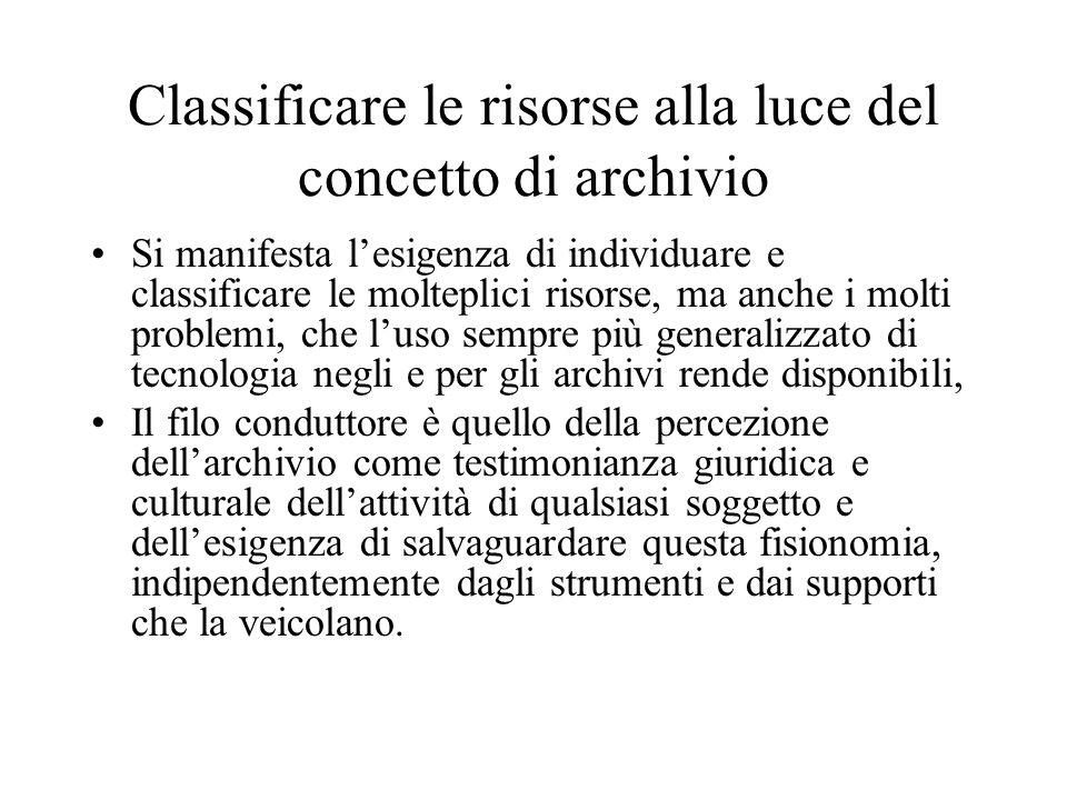 Classificare le risorse alla luce del concetto di archivio