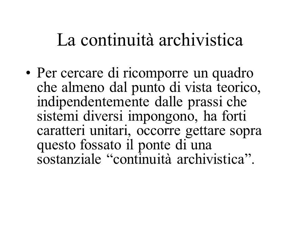 La continuità archivistica