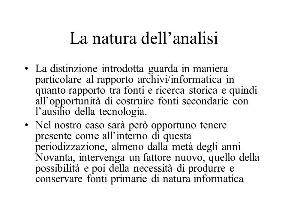 La natura dell'analisi