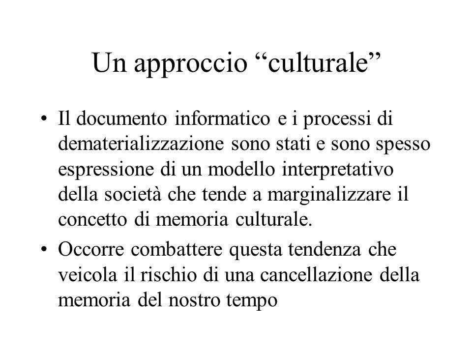 Un approccio culturale