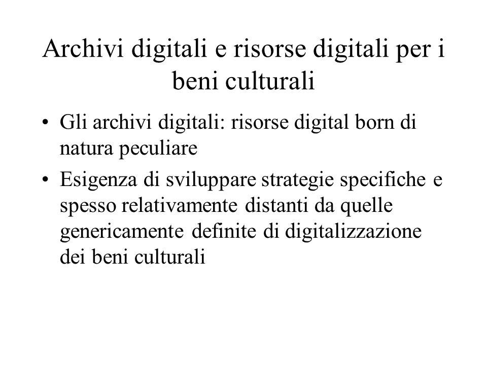 Archivi digitali e risorse digitali per i beni culturali