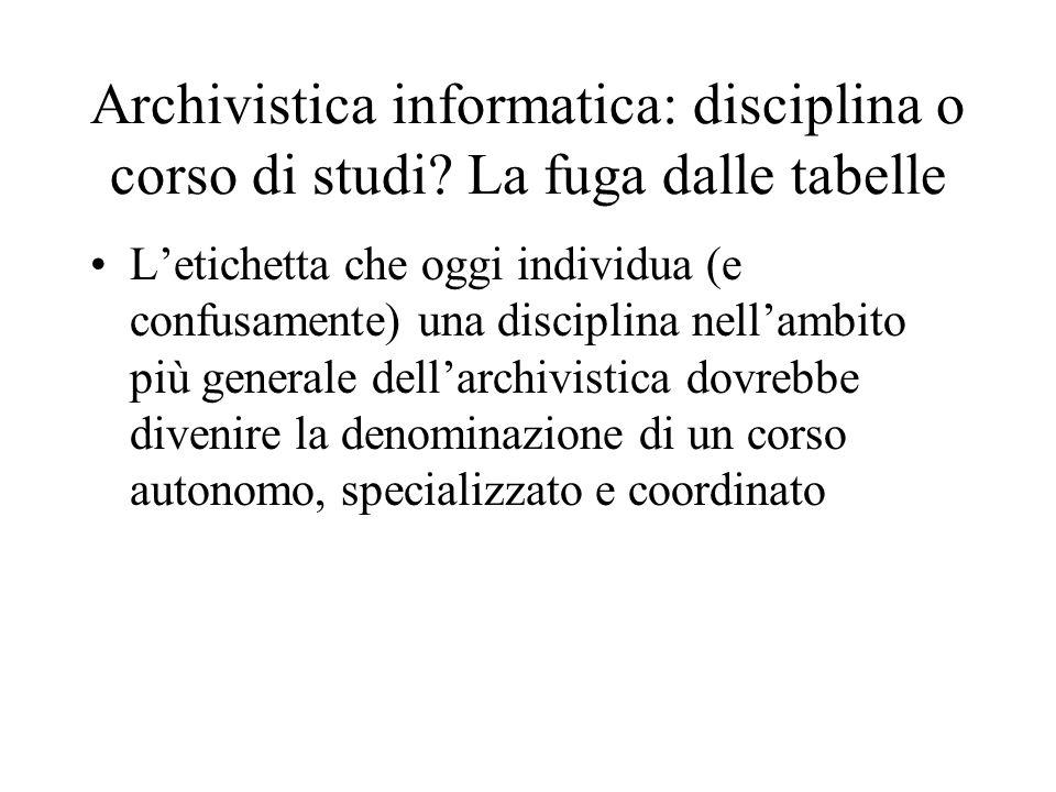 Archivistica informatica: disciplina o corso di studi