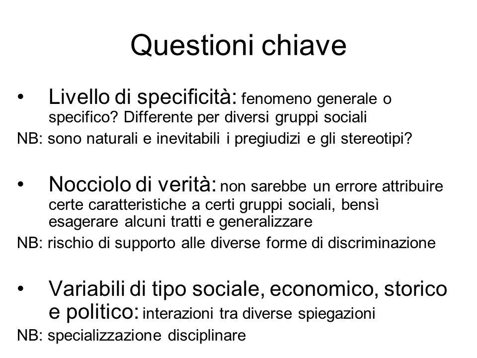 Questioni chiave Livello di specificità: fenomeno generale o specifico Differente per diversi gruppi sociali.