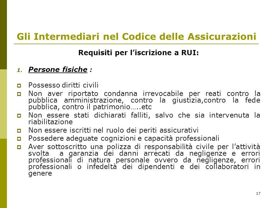 Gli Intermediari nel Codice delle Assicurazioni