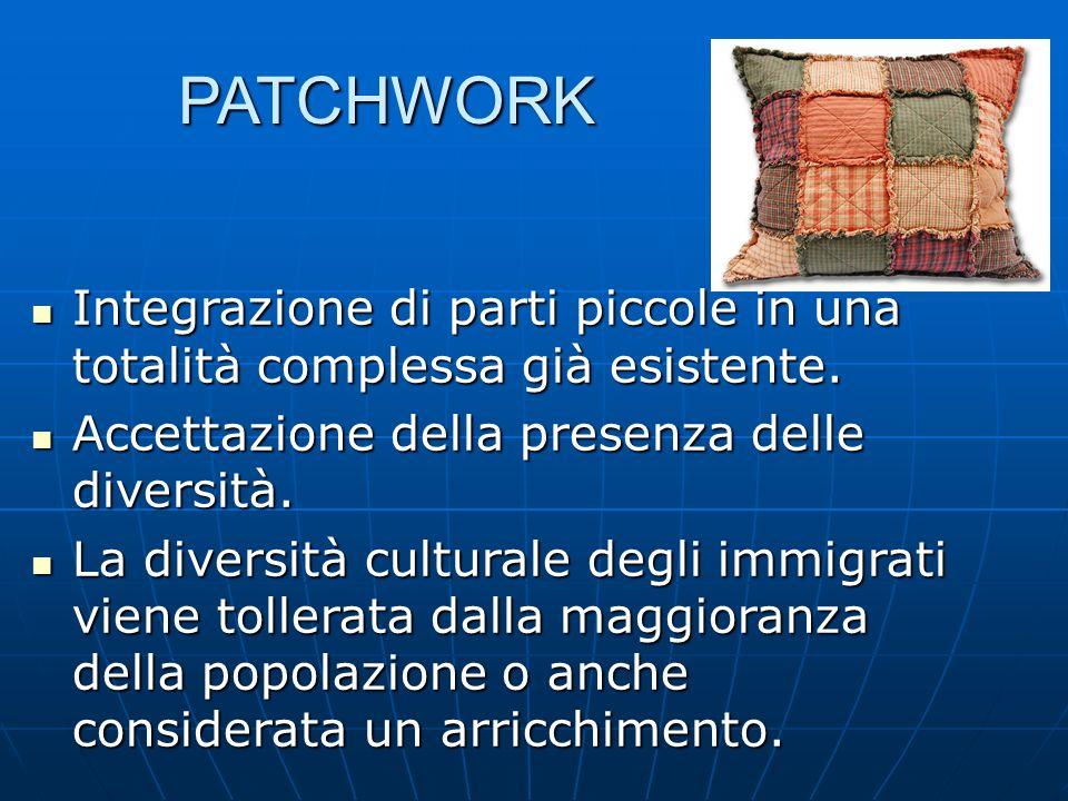 PATCHWORK Integrazione di parti piccole in una totalità complessa già esistente. Accettazione della presenza delle diversità.