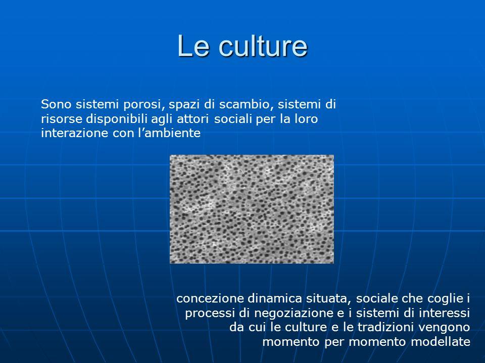 Le culture Sono sistemi porosi, spazi di scambio, sistemi di risorse disponibili agli attori sociali per la loro interazione con l'ambiente.