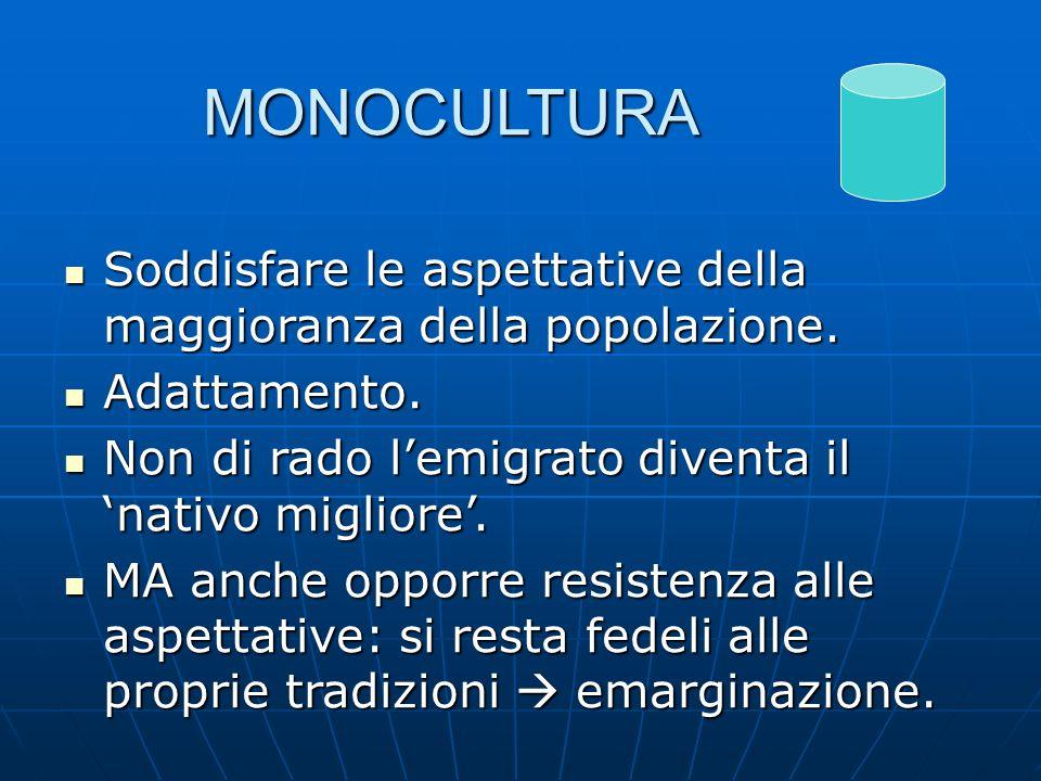 MONOCULTURA Soddisfare le aspettative della maggioranza della popolazione. Adattamento. Non di rado l'emigrato diventa il 'nativo migliore'.