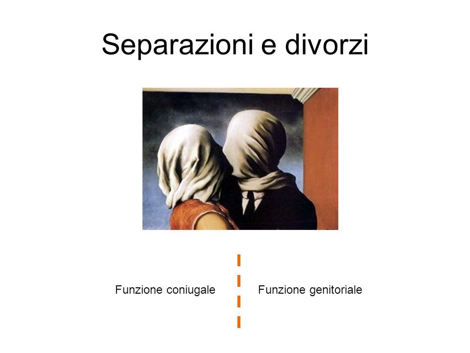 Separazioni e divorzi Funzione coniugale Funzione genitoriale