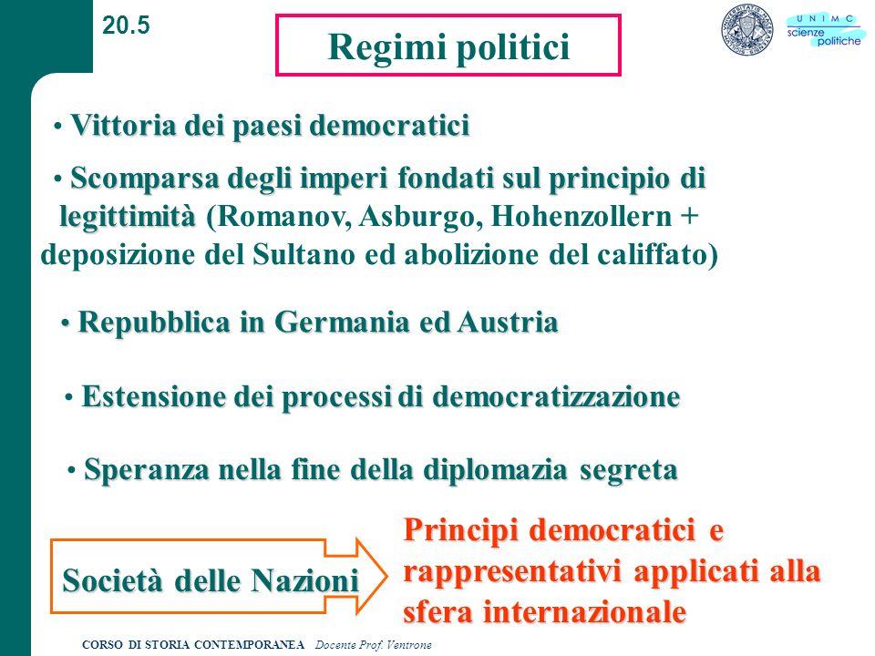 20.5 Regimi politici. Vittoria dei paesi democratici.