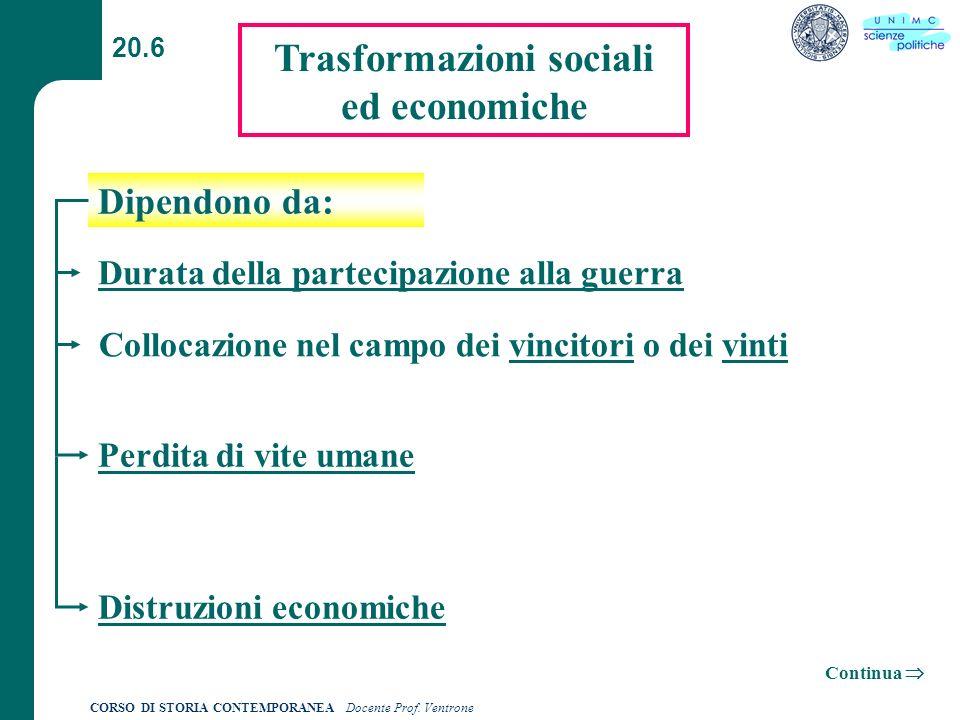 Trasformazioni sociali ed economiche