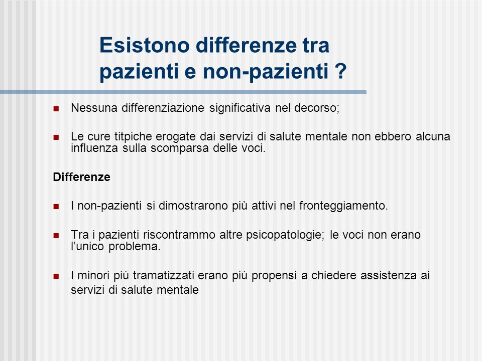 Esistono differenze tra pazienti e non-pazienti
