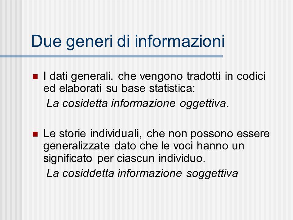 Due generi di informazioni