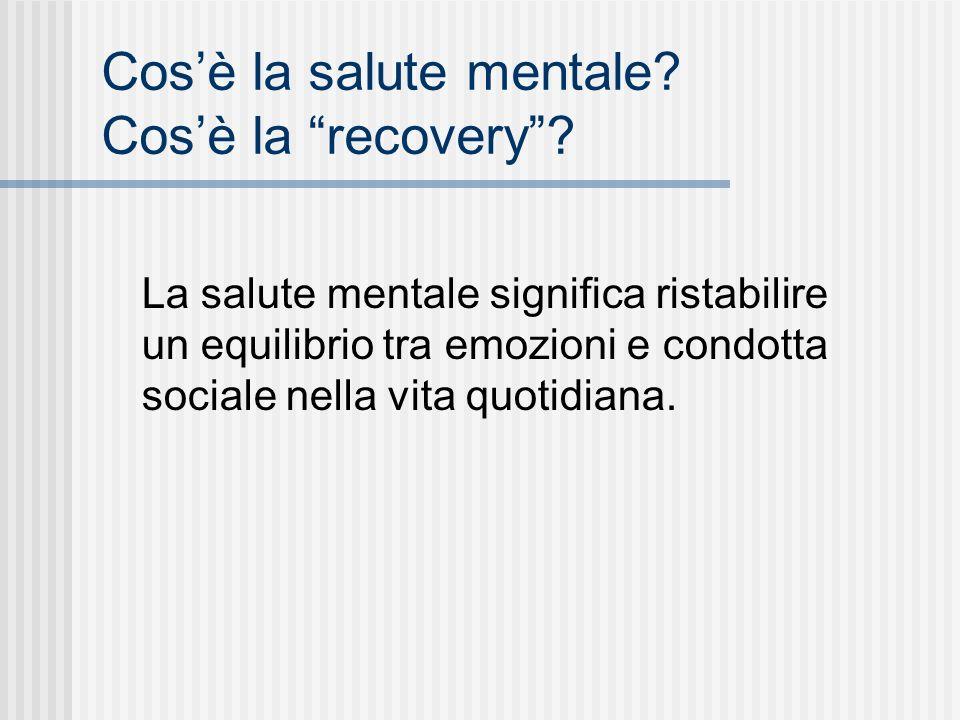 Cos'è la salute mentale Cos'è la recovery