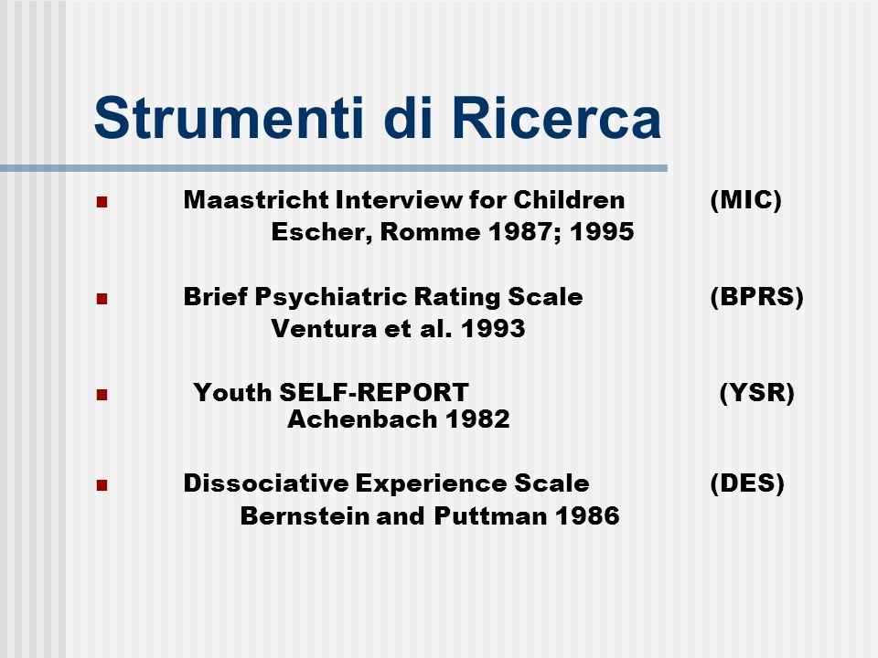 Strumenti di Ricerca Maastricht Interview for Children (MIC)