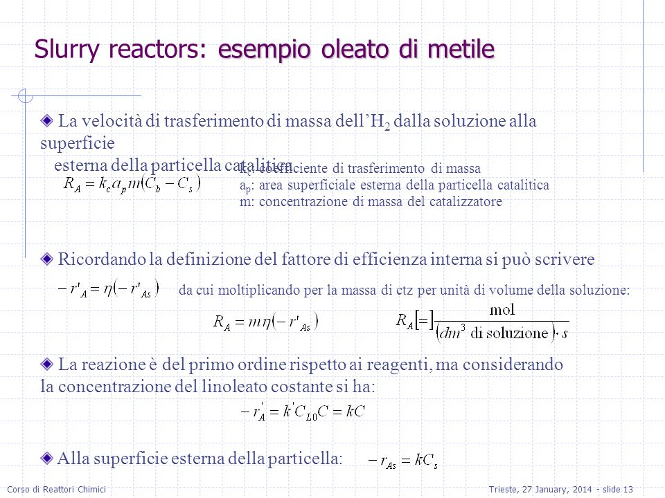 Slurry reactors: esempio oleato di metile