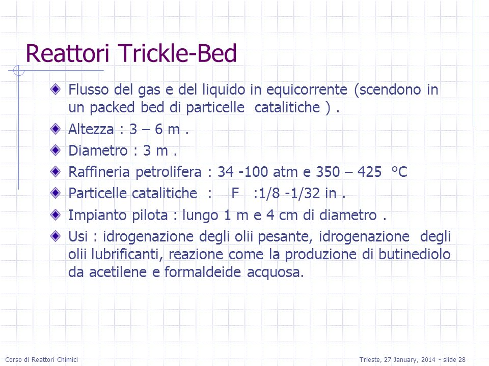 Reattori Trickle-Bed Flusso del gas e del liquido in equicorrente (scendono in un packed bed di particelle catalitiche ) .