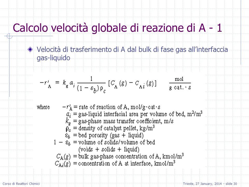 Calcolo velocità globale di reazione di A - 1