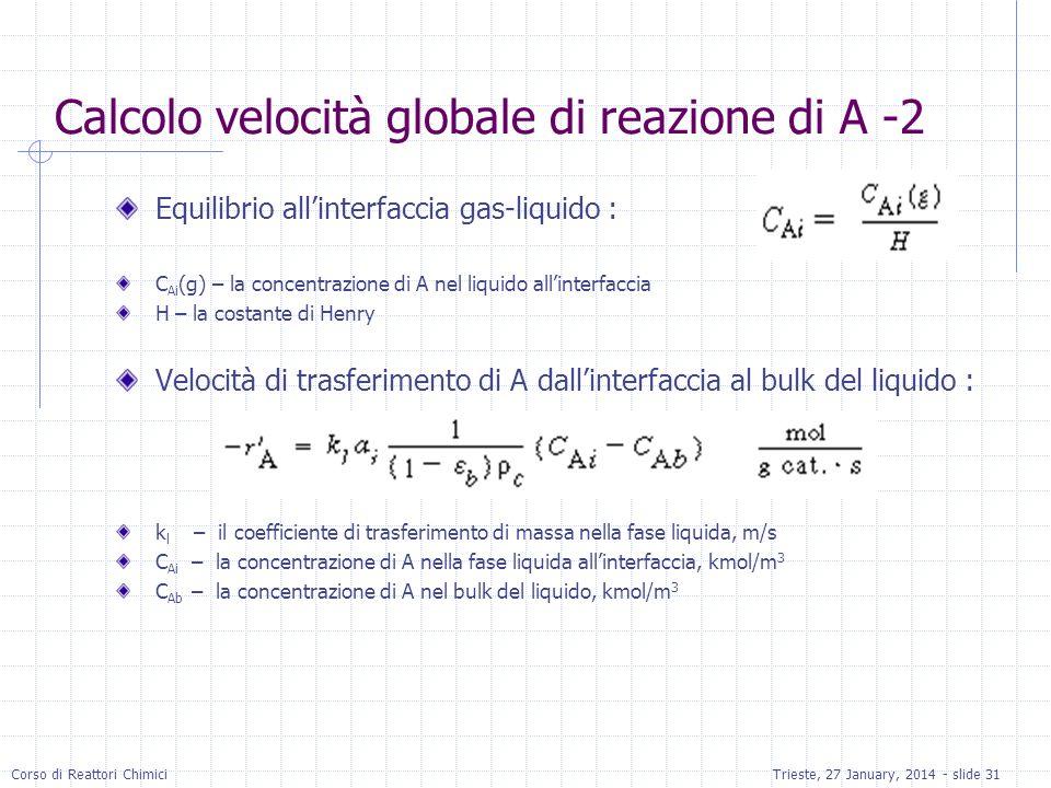 Calcolo velocità globale di reazione di A -2