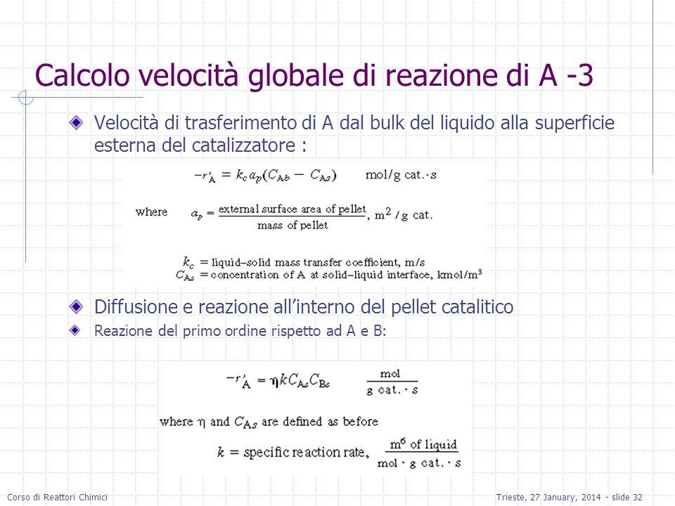 Calcolo velocità globale di reazione di A -3
