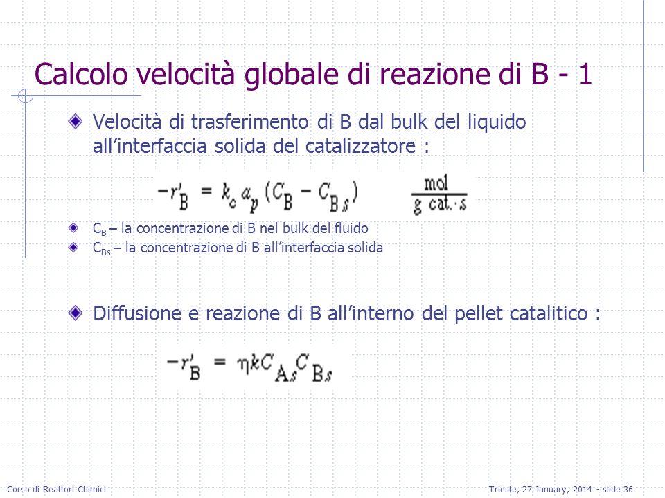 Calcolo velocità globale di reazione di B - 1