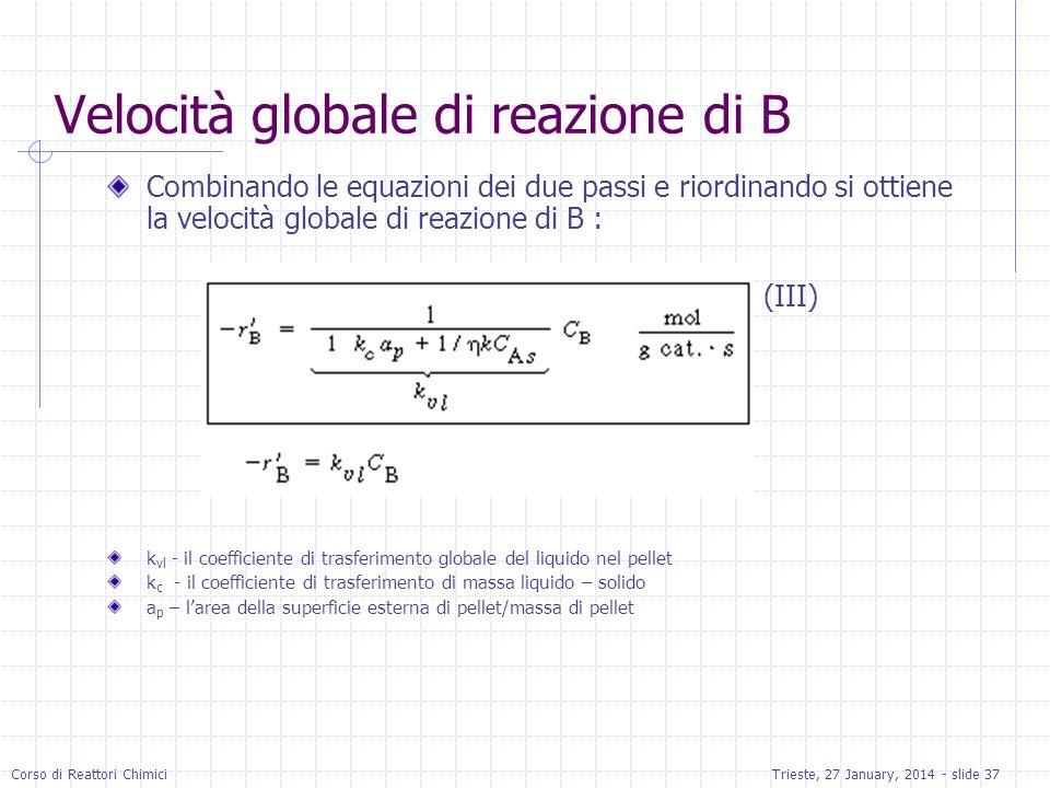 Velocità globale di reazione di B