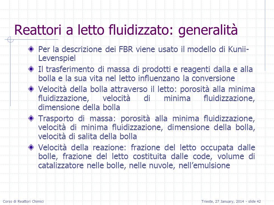 Reattori a letto fluidizzato: generalità