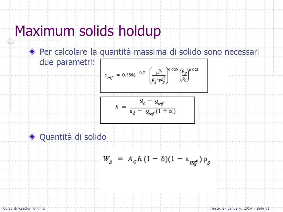 Maximum solids holdup Per calcolare la quantità massima di solido sono necessari due parametri: Quantità di solido.