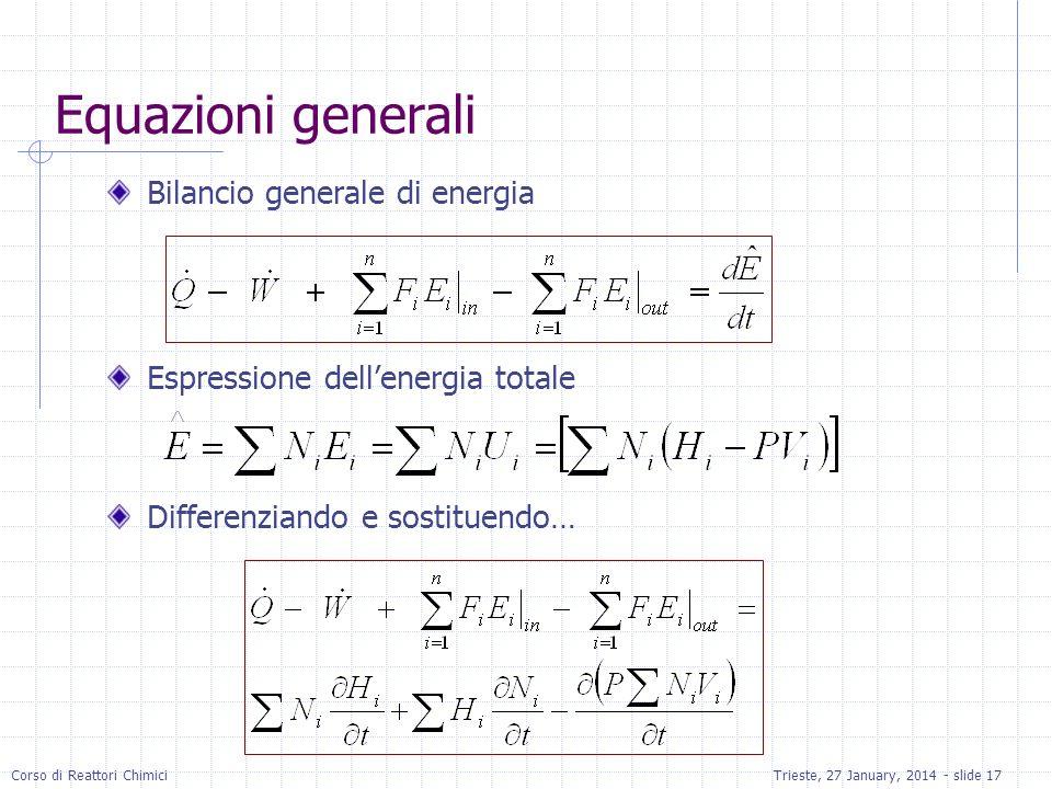 Equazioni generali Bilancio generale di energia