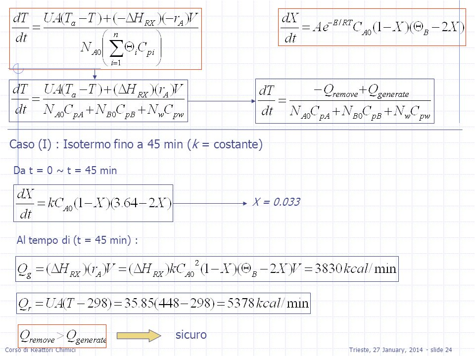 Caso (I) : Isotermo fino a 45 min (k = costante)