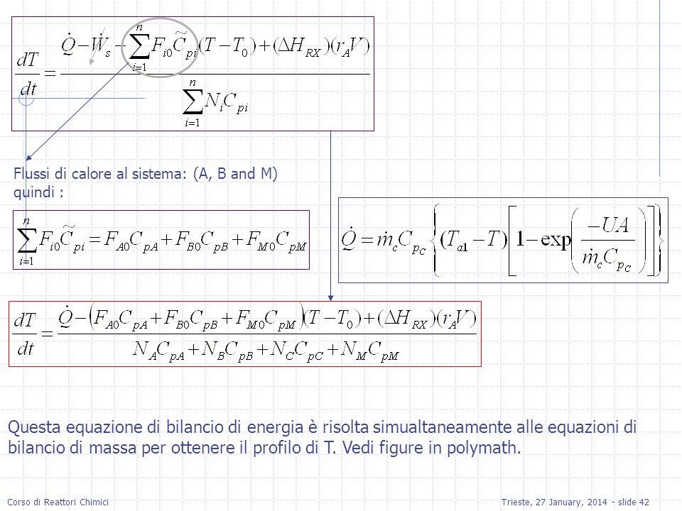 Flussi di calore al sistema: (A, B and M)