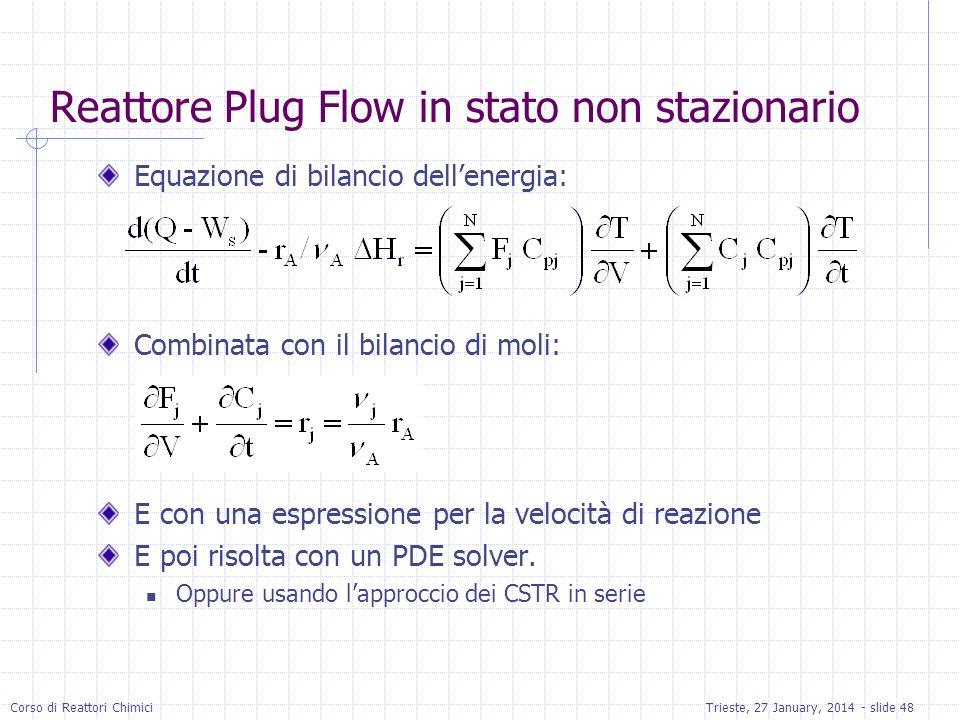 Reattore Plug Flow in stato non stazionario