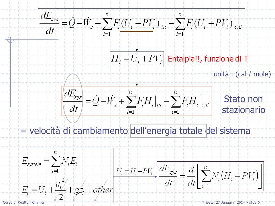 = velocità di cambiamento dell'energia totale del sistema