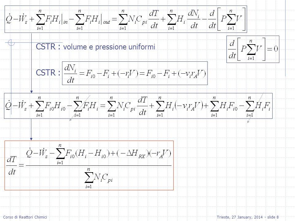 CSTR : volume e pressione uniformi