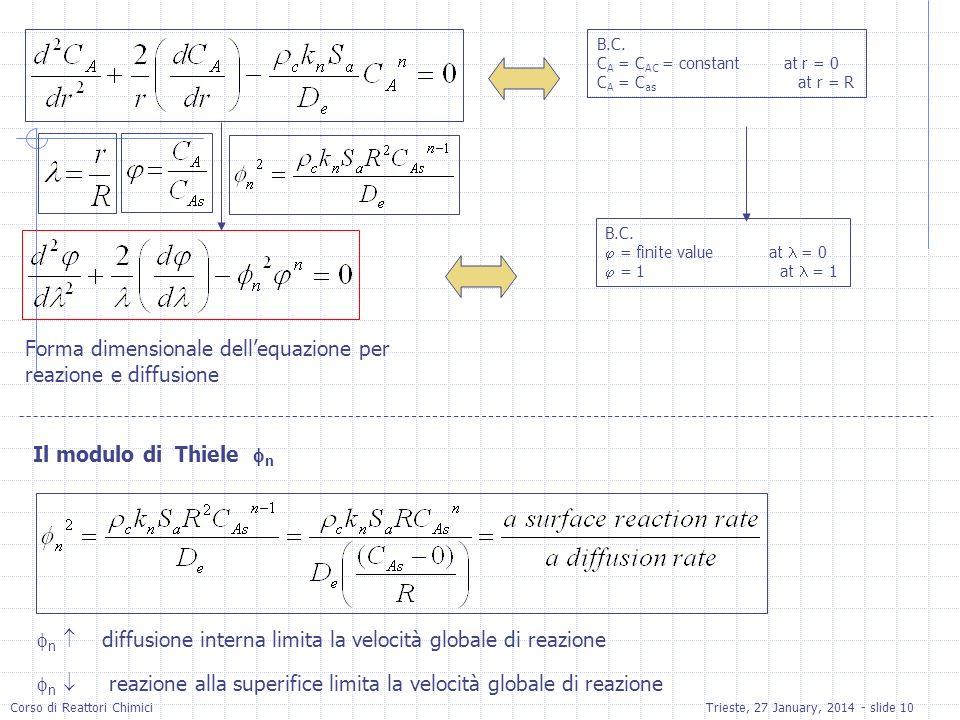 Forma dimensionale dell'equazione per reazione e diffusione