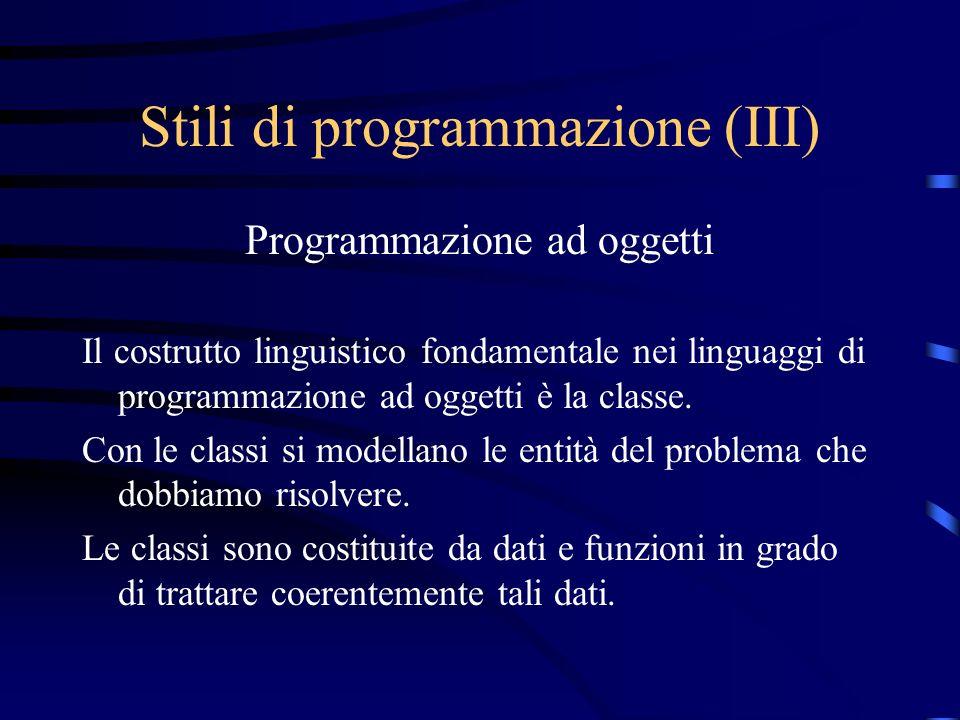 Stili di programmazione (III)