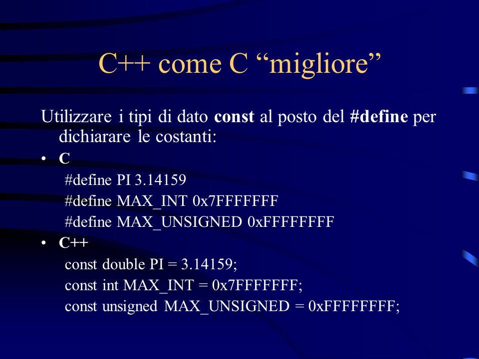C++ come C migliore Utilizzare i tipi di dato const al posto del #define per dichiarare le costanti: