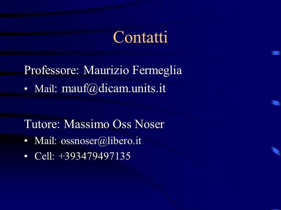 Contatti Professore: Maurizio Fermeglia Tutore: Massimo Oss Noser