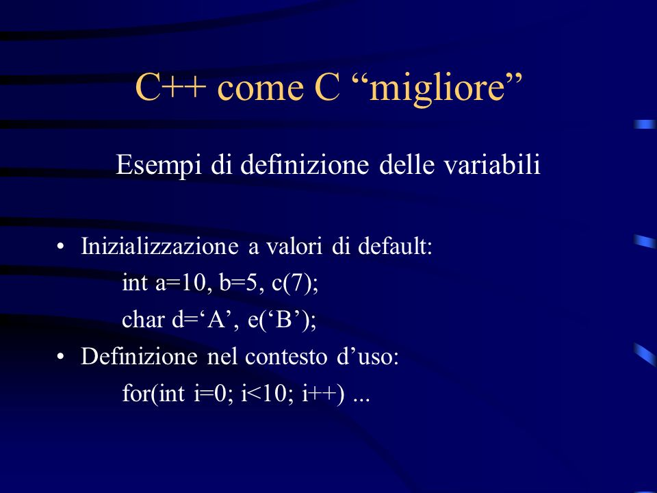 Esempi di definizione delle variabili