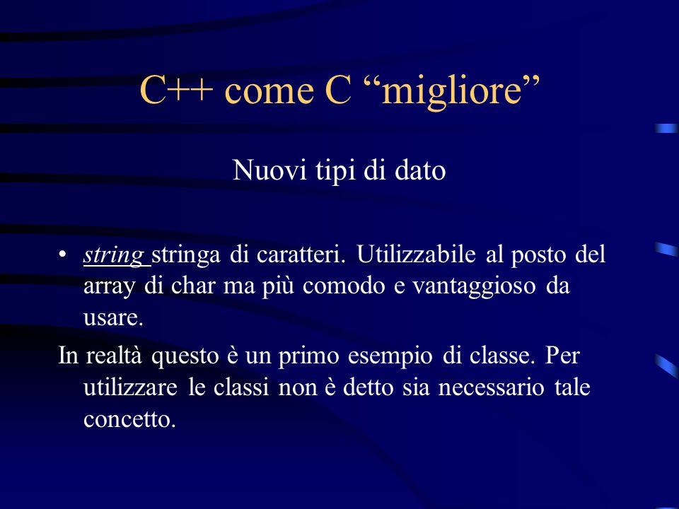 C++ come C migliore Nuovi tipi di dato