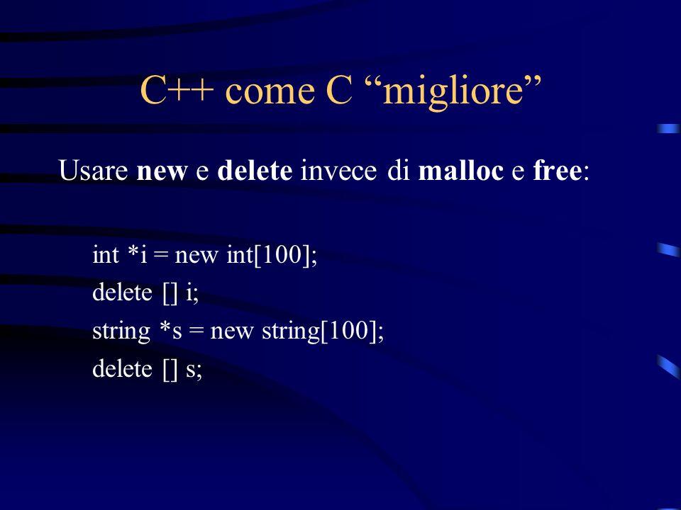 C++ come C migliore Usare new e delete invece di malloc e free: