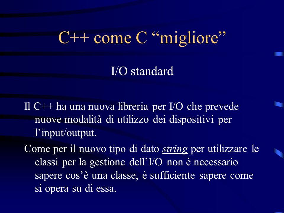 C++ come C migliore I/O standard