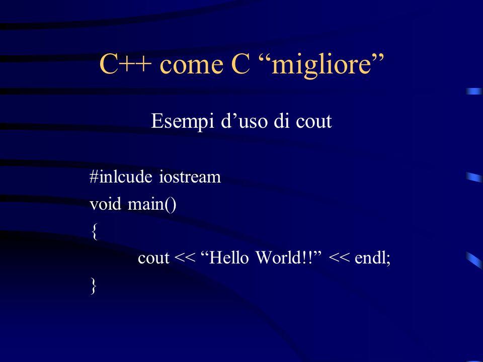 C++ come C migliore Esempi d'uso di cout #inlcude iostream