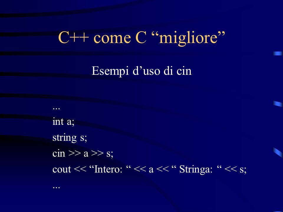 C++ come C migliore Esempi d'uso di cin ... int a; string s;