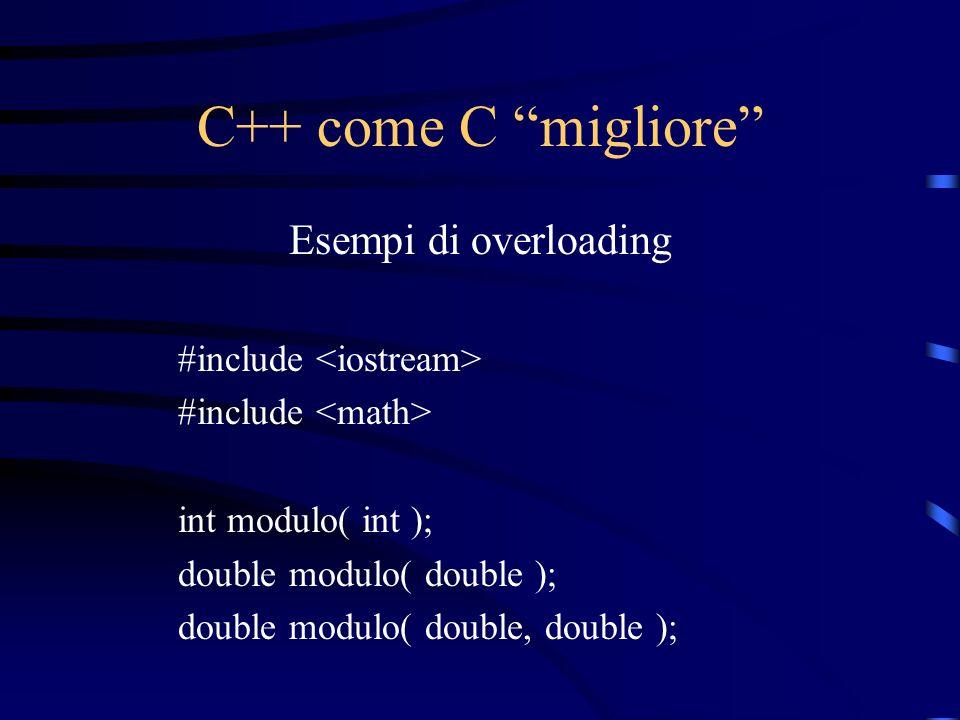 C++ come C migliore Esempi di overloading #include <iostream>