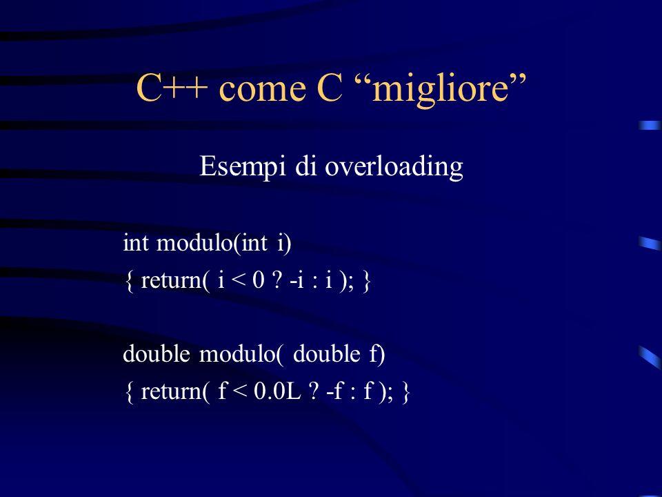 C++ come C migliore Esempi di overloading int modulo(int i)