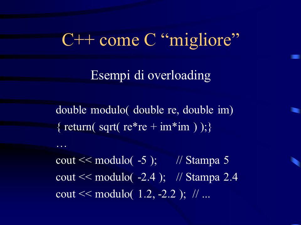 C++ come C migliore Esempi di overloading
