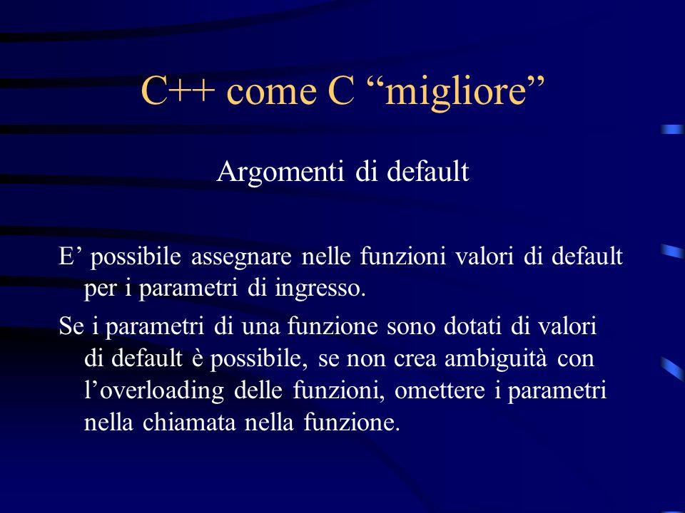 C++ come C migliore Argomenti di default