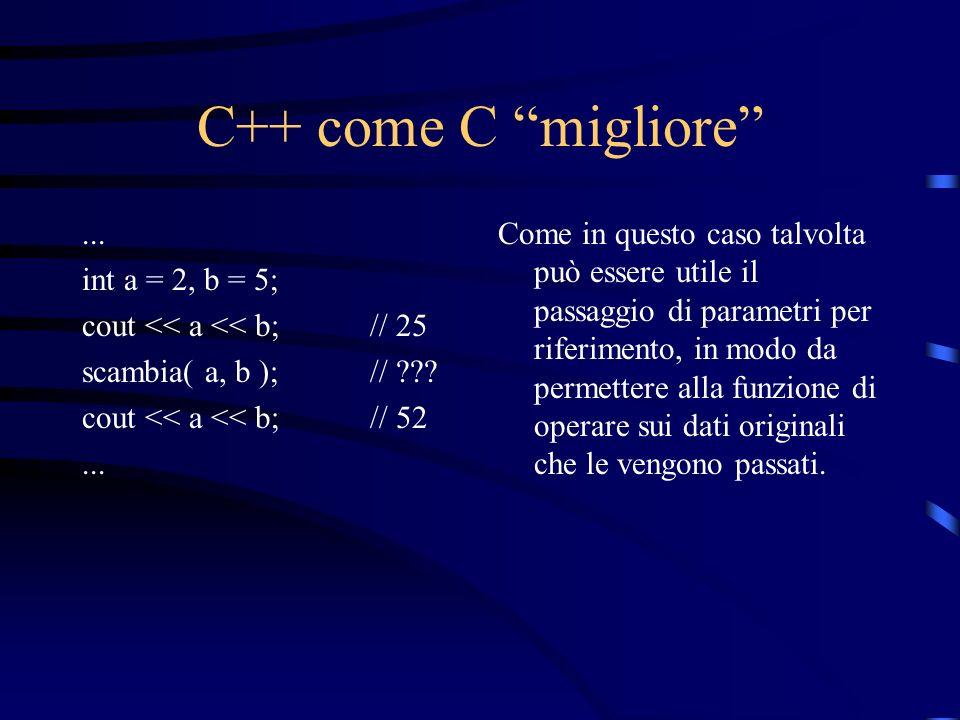 C++ come C migliore ... int a = 2, b = 5;