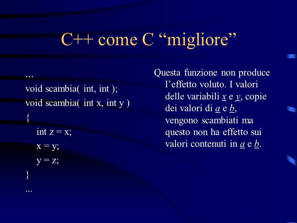 C++ come C migliore ... void scambia( int, int ); void scambia( int x, int y ) { int z = x; x = y;